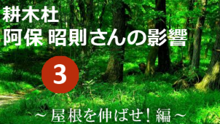 耕木杜 阿保 昭則さんの影響 其の参 ~屋根を伸ばせ!編~