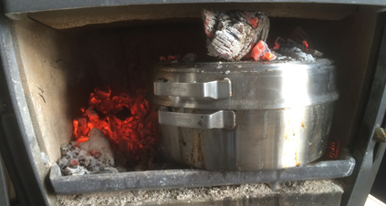 炉内で加熱